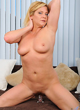 Ginger Lynn  Horny blonde milf brings herself to ecstacy as she slams her glass dildo deep inside of her slippery fuck box