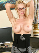 Holly Sampson  Lovely blonde secretary exposes her enticing mature body in the office