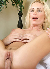 Holly Sampson  Glamorous blonde Anilos receives a serious pounding in her tight cougar pussy