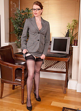 Holly Kiss  Gorgeous Anilos office temp strips down to her naughty lingerie on lunch break