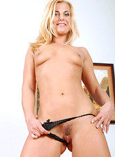 Zandora Koberova  Sensual blonde cougar Janet strips off her clothes and spreads her milf pussy wide