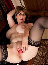 Josephine James  Horny Anilos pinches her big tits and stroking her pussy with a red toy on the couch