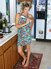 Classy housewife Vanessa loves to appease her aching seasoned juice box with a ladle in the kitchen