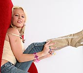 Holly - Pigtail jailbait blonde Holly Wellin deepthroat and fucking cowgirl