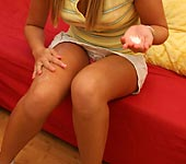 Mindy - Cute blonde teen Mindy Lee giving head and fucking your huge cock