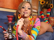 Cheyenne Cooper - Sexy Brunette loves hookah and getting banged in her cute rainbow socks.