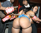 Cherokee - Curvy ebony Cherokee fucks a couple gangsters