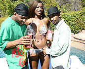 Milan Sterling - Curvy ebony Milan fucks a couple gangsters