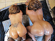 Melrose and Sydnee - Ghetto cunts with bubble butts taking turns on a big cock