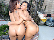 Melody & Christina - Two juicy babes with phat bubble asses share a big cock