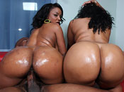 Sinnamon Love - Double 0 negro fucks two hot black booty bitches!