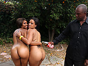 Natasha and Imani - Ghetto hoes with bubblelicious butts taking turns on a big black cock