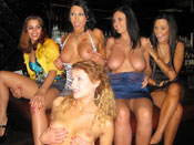 Birthday Cock-Beating Babes - Horny sluts go fucking nuts on the male strippers big cock!