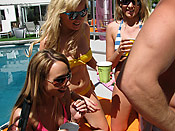 Hannah West - Crazy and drunk girls having fun with a stripper by the pool