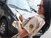 Savannah Stern - Parking Enforcer gets a lashing and takes massive load to the face!