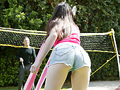 Janie Jones - Sexy teen girl roped and fucked hard outdoor