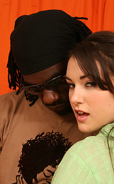 Sasha Grey - Gorgeous dark hair 18 year old Sasha blowjob and sofa sex with huge black cock