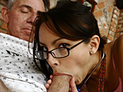 Danni Cole - Young slut volunteers her tight pussy down at the old perverts retirement home