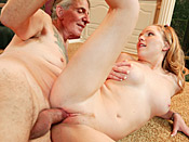 Laci Laine - Cute blonde girl fucks dude that looks like pervert grandfather