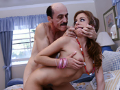 Missy Lou - Dirty old man gets fuck after cleaning the lawn!