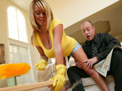 Brandy Talore  - Milf gets taped to broom while getting fucked!