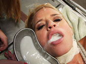 Madison James - Cute blonde slut gets cum disgraced while tied up!