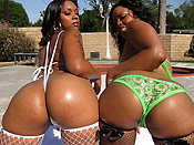 Porche and Chanel - Ghetto sluts with lots of junk in the trunk taking turns on a cock