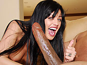 Sadie West - Brunette girl getting shocked by a massive black rod