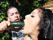 Kimberly Gates - Slutty cunt gets her throat fucked by a mean cock
