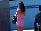 Pink tube top gets slipped - Pink tube top gets slipped