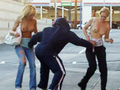 Dogwalker´s Double D´s! - Girls sharked, stripped and pantsed in public!