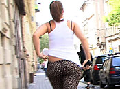 Big booty sharking - Dumb slut with a big ass gets sharked on the street