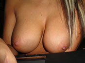 Briana B. - Hacked!: Big titty blonde´s boobs on cam!
