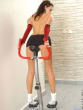 Naughty teen cameron works out on the gym fully naked and shows off her curves