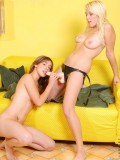 This two lesbian teen have a great hot moment of getting horny indoors