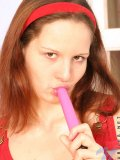 Check out carol sucking on her tiny vibrator getting it nice and sticky to shove up her tight hole