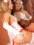 Hot blonde nubile cassie in nurse dress showing her ass and perky tits