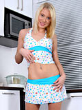 Hot seductive Catia pops out her petite Nubile tits while flirting in the kitchen