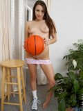 Sweet athletic teen loves playing basketball and running layups look at those boobies