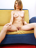 Horny coolmona on couch with a tight fresh pussy to show off