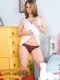 Steamy naughty Crissysnow takes off her clothes and exposes her precious teen assets