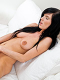 Horny naughty temptress gives her fuck hole a sweet finger masturbation