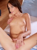Sexy nubile Jesica gently spreads off her nubile pussy lips in her bedroom