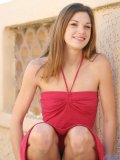 Very sexy and cute hottie jill is outdoors in a sweet red dress check out those small tits