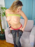 Cute blonde nubile joy loves to lick her nipples on her big tits