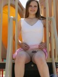 Ah yes more outdoors for jules she is at the playground flashing her small tits and shaved box