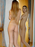 Top teen model exploring her really nude curvy body on the mirror