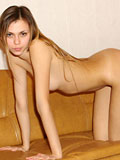 Exclusive nubile babe looks charming and fresh naked on couch