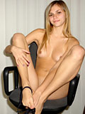 Katrina strips off to show her unbelievably sexy body on this clerical chair