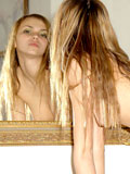 Smoking gorgeous teen exploring her womanity in front of mirror